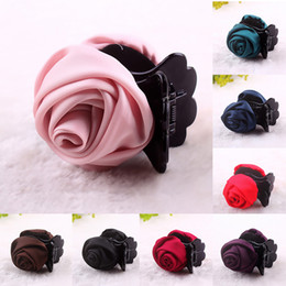 Roses For Hair Australia - 8 pcs lot Korean Beauty Ribbon Rose Flower Bow Jaw Clip Barrette Hair Claws for Girls Women Cute Headwear Hair Accessories