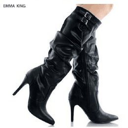 Shoes Knee High Straps Australia - Botas Mujer 2018 Pleated Buckle Strap Knee High Boots Pointed Toe Thin High Heels Sapato Feminino Autumn Shoes Women Four Colors