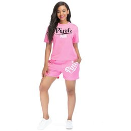 Pink Clothing Women UK - Women Clothing Set Summer PINK Letter Shorts Suit 2pcs Set Short Sleeve T-shirt+ Shorts Outfits Tracksuit Lady Sportswear Suit