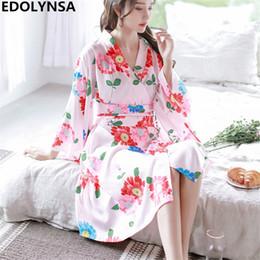 afdca2a20d24 Japanese sleep online shopping - Sleepwear Robe Female Japanese Yukata Robe  Bathrobe Set Red Floral Print
