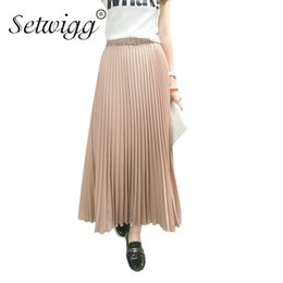 Chinese  SETWIGG 90cm Long Chiffon Accordion Pleated Skirts Elastic Waist Belt Casual Candy Maxi Long Bohemian Summer Skirts SG03 manufacturers