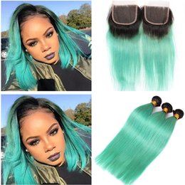dark green hair weave Australia - Dark Rooted Ombre Light Green Malaysian Virgin Human Hair Weaves 3 Bundles with Closure Silky Straight 1B Green Ombre 4x4 Lace Closure