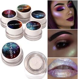Wholesale Glitter Lips Australia - HANDAIYAN 5 colors Glitter Eyeshadow Palette Holographic Shade Eye Lip Face Makeup Shimmer Highlighter Cream Nude Eye Shadow