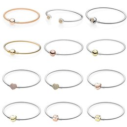 China Rose Gold MOMENTS Mesh Bangle Love Heart Two-Tone Signature Open Bangle Fit Bracelet 925 Sterling Silver Bead Charm cheap love moment suppliers