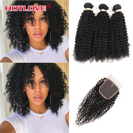 bundles curly hair sale Australia - HOTLOVE Indian Virgin Kinky Curly Hair 3 Bundles with Lace Closure with baby Hair Natural Black Human Hair Wefts with Hot Sale Closure