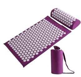 yoga mats 2019 - Health Care Massage Cushion Acupressure Mat Relieve Stress Pain Acupuncture Spike Yoga Mat Pillow with Bag cheap yoga ma
