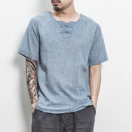 46d097c9068 2018 Summer Chinese Style Cotton Mens T Shirt Casual Short Sleeve Solid T-shirt  Tops Vintage Camisetas Hombre Plus Size 4 Color