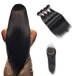 China Ishow Free Shipping Good 8A Brazilian Hair Straight Hair Extensions 4Bundles with 4x4 Lace Closure Human Hair Weave Wholesale Price supplier good natural human hair suppliers