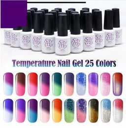 Glitter red Gel polishes online shopping - Sexy Gel Lacquer Chameleon Temperature Change Color Gel Shiny Popular Glitter Blue UV Nail Gel Polish Whole Sale Price ML