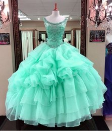 Mint color pageant dresses online shopping - 2018 Mint Green Quinceanera Dresses Cascading Ruffles Tulle Junior Beaded Crystal Sweet Long Prom Party Gowns Pageant Dresses Backless