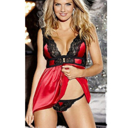 4fe5d71483 New Women Lace Sheer V Neck Erotic Teddy Sleepwear Nightgowns Sexy Babydoll  Nightwear with G-string Lingerie Night Dress