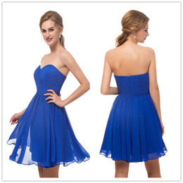 4e7fd2b6497 new cheap blue Prom Dresses chiffon Short sweetheart Backless Formal  Pageant Gowns New Evening Party Wear on half Promotions size 2-16 12673