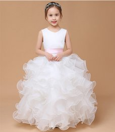 Discount prom dresses gowns for kids - Organza with Ruffles Ball Gown Flower Girl Dress 2019 Floor Length Girls Dresses for Wedding New Kids Prom Gown