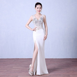 f301c92cd4d Diamonds Embroidery V-Neck 2018 New Women s Elegant Long Gown Party Prom  For Gratuating Date Ceremony Gala Evening Dresses A24