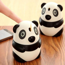 Plastic Toothpick Wholesale Australia - Lovely Creative Panda Shaped Automatic Toothpick Holder Canister - Cartoon Pocket Small Plastic Toothpick Box Bottle Free Shipping