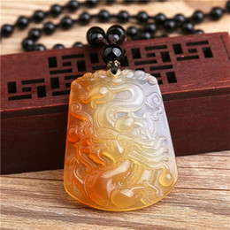 $enCountryForm.capitalKeyWord Australia - Chalcedony ice color pretty dragon pendant natural agate male and female zodiac dragon domineering Long Xing world pendant