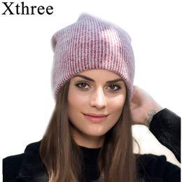 Beanies For Winter Australia - Xthree new simple Rabbit fur Beanie Hat for Women Winter hat for children Skullies Warm Gravity Falls Cap Gorros Female Cap S18101708