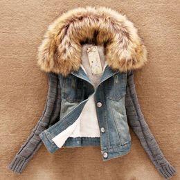 Wholesale women fur trench short coat for sale - Group buy Winter Autumn Women Trench Zipper Spliced Fur Fleece Flocking Denim Jeans Thicken Warm Female Coat Outwear Large Size XL