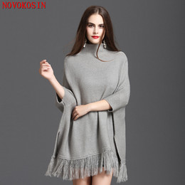 knit poncho patterns NZ - C176 Women Loose Bat Sleeve Poncho 2018 Autumn Pullover Fashion Winter Warm Knitted Plus Size Solid Pattern Capes Sweater