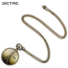 SOLEDI Fob Taschenuhr Anhänger Halskette Eiffelturm Retro Ziffern Taschenuhr Halskette Kette Pullover Kette Quarz Schmuck