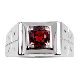$enCountryForm.capitalKeyWord UK - Natural Red Garnet Men Ring 925 Sterling Silver Cross Jewelry 6mm Round Shape Real Crystal Gemstone January Birthstone Birthday Gift R510RGN