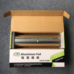 Zihinsel kesici ile 30 cm * 100 m Alüminyum Folyo kağıt gıda ambalaj kağıdı barbekü için gıda hizmeti sıcak damgalama folyo