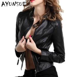 Discount sexy motorcycles - 2018 Autumn Jacket for Women Leather Jackets and Coats Motorcycle Short Slim Sexy Jacket Ladies Short Coat Black WUJ0073