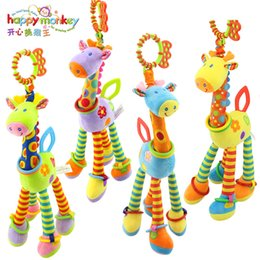Infant Development Australia - Happy Monkey Plush Infant Baby Development Soft Giraffe Animal Handbells Rattles Handle Toys Hot Selling WIth Teether Baby Toy