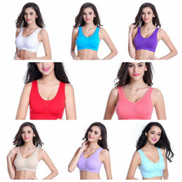 SportS bra tank online shopping - 10 Colors Soft Breathable Sports Bra Women Yoga Fitness Stretch Workout Tank Top Seamless Padded Bra Sports Bras Yoga Bra CCA9153