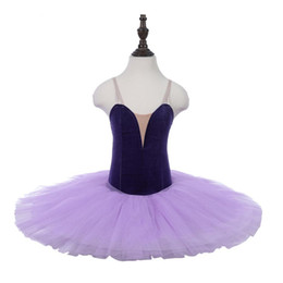 Stage Show Costumes UK - free shipping Lilac Girls velvet Professional Ballet Tutu without decoration For Women performance Show Stage Classical Tutu Costume Purple