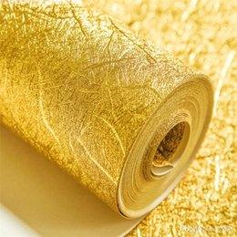 Gold Foil Paper Roll NZ - Water Mildew Proof Wallpaper Ktv Bar Hotel Home Television Gold Foil Background Wall Sticker Easy Clean High Grade pure color 55jr bb