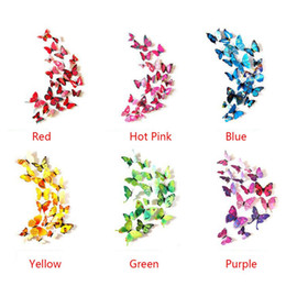 Wholesale 12pcs set Novel Combination D Vivid Butterfly Wal Stickers Home Decor Decal Design Wall Fridge Magnetic Stickers Colors