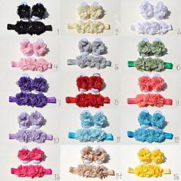 $enCountryForm.capitalKeyWord NZ - 15 Colors Chiffon Flower Baby Barefoot Sandal Headband Set for Summer Pre-Walker Infant Toddler Newborn Baby Shower Gift