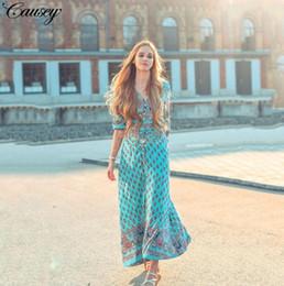 Женщины Длинные Цветочные Wrap Dress Maxi Длина Пола Повседневная Сплит Ретро Летние Платья 2018 Boho Bohemian Vestidos Плюс Размер