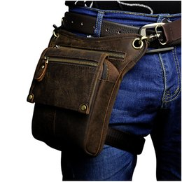 bicycle belt Australia - high quality Men outdoor genuine leather leg bags waist pack bag Men running belt bicycle and motorcycle Money Belt Fanny pack