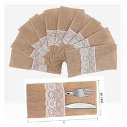 silverware holders 2019 - 4*8 Inch Hessian Burlap Lace Jute Cutlery Pocket Knifes Forks Bag Burlap Silverware Holders for Wedding Christmas Table