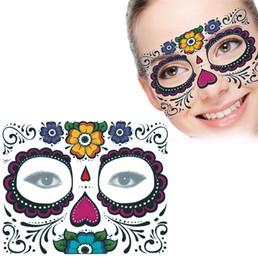 $enCountryForm.capitalKeyWord UK - Disposable Eyeshadow Sticker Halloween Party Facial day of the dead faced tattoo masquerade ball must pretty tattoo sticker waterproof Xmas