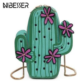 $enCountryForm.capitalKeyWord Canada - NIBESSER Bags for Women 2017 Kawaii Bag Embroidery Handbags Chain Flower Cactus Bag Phone Wallet Crossbody Messenger Green Purse