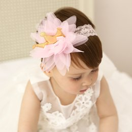 BaBy girl wedding headBands online shopping - Sweet Baby girl Hair bows Lace Mesh Crown Headband Hair band Wedding party Hair accessories Photography months