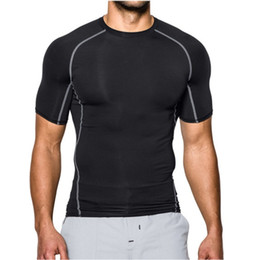 moisture wicking t shirts wholesale 2019 - M-XL Men Short Sleeve Tight T-Shirt summer Male O-neck Sports Top Moisture Wicking Quick Dry Cooling Fitness Trainning T