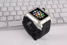 Marca de la banda de reloj para Apple ver iWatch banda de reloj caucho negro de silicona correa de hebilla clásica correa de reloj de metal cubierta de la caja de aluminio 42 mm en venta