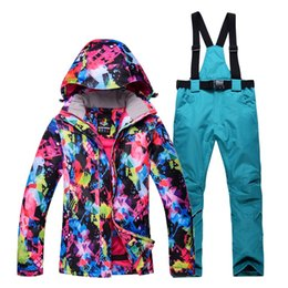 2018 New Outdoor Printed Womens Waterproof Winter Jacket + Pants Ski Suit  Thicken Breathable Snow Mountain Snowboarding Sets 61f888794