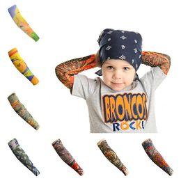 Manchettes de tatouage pour enfants Manchette de bras de fleur Tatouage écran solaire respirant Manches de tatouage Manches de bras Sun Protection T3I0361 en Solde