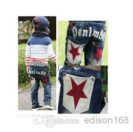 Jeans star pant new online shopping - HOT New spring autumn arrival children boys jeans star denim pants autumn baby kid trousers retail and