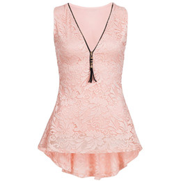 Sexy Pink Tank Top UK - Women Tank Tops Solid Sexy V Neck Floral Lace Zip 4ba189be5ee2