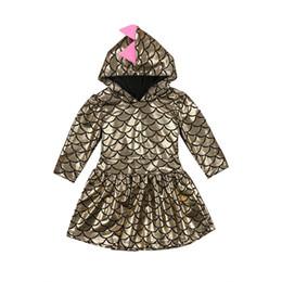$enCountryForm.capitalKeyWord NZ - Newborn Baby Kid Girls Dress Dinosaur Party Princess Children Hooded Dresses Gold Autumn Long Sleeve Outfits Cute Costume New