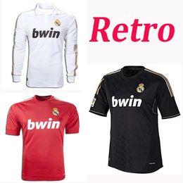 8f311b066 Retro 2011 2012 Real Madrid Home Soccer Football Jersey Sergio Ramos KAKA  HIGUAIN RONALDO ZIDANE Beckham 2005 2006 RAUL Robinho Long sleeve