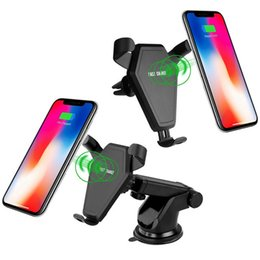 Wholesale N5 Qi Wireless Car Charger With Holder Stand W Quick Charger For iPhone X Plus Samsung S9 S8