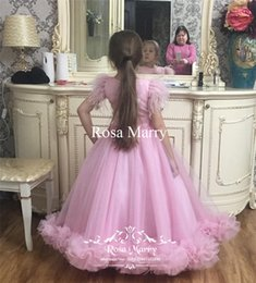 Discount feather dresses for girls - Luxury Pink Feather Ball Gown Girls Pageant Dresses 2020 Vintage Lace Sequined Tutu Tulle Toddler Pageant Birthday Party