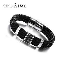 Hot Selling Handmade Genuine Leather Weaved Double Layer Man Bracelets Casua Bicycle Motorcycle Delicate Cool Men Jewelry